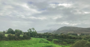 Irish countryside view from the train between Dublin and Killarney