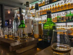 Irish whiskeys at whiskey bar in Killarney Ireland.