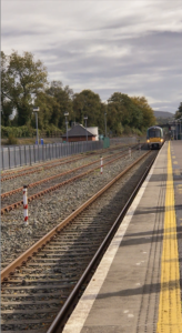 Train arriving at Killarney Train Station in Ireland.