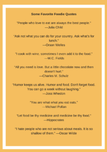 A list of famous foodie foray quotes about food