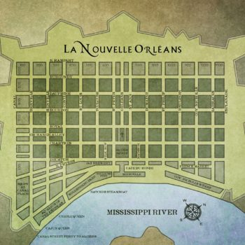 French Quarter,New Orleans, antique map