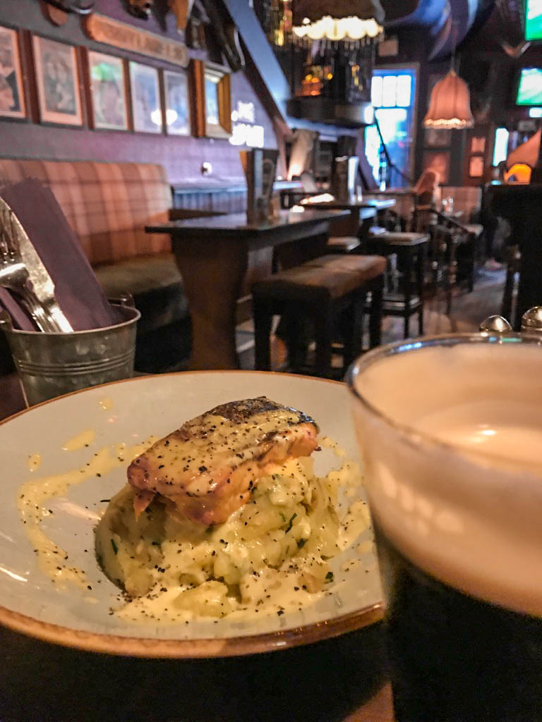 Salmon and Guinness in Dublin, Ireland pub